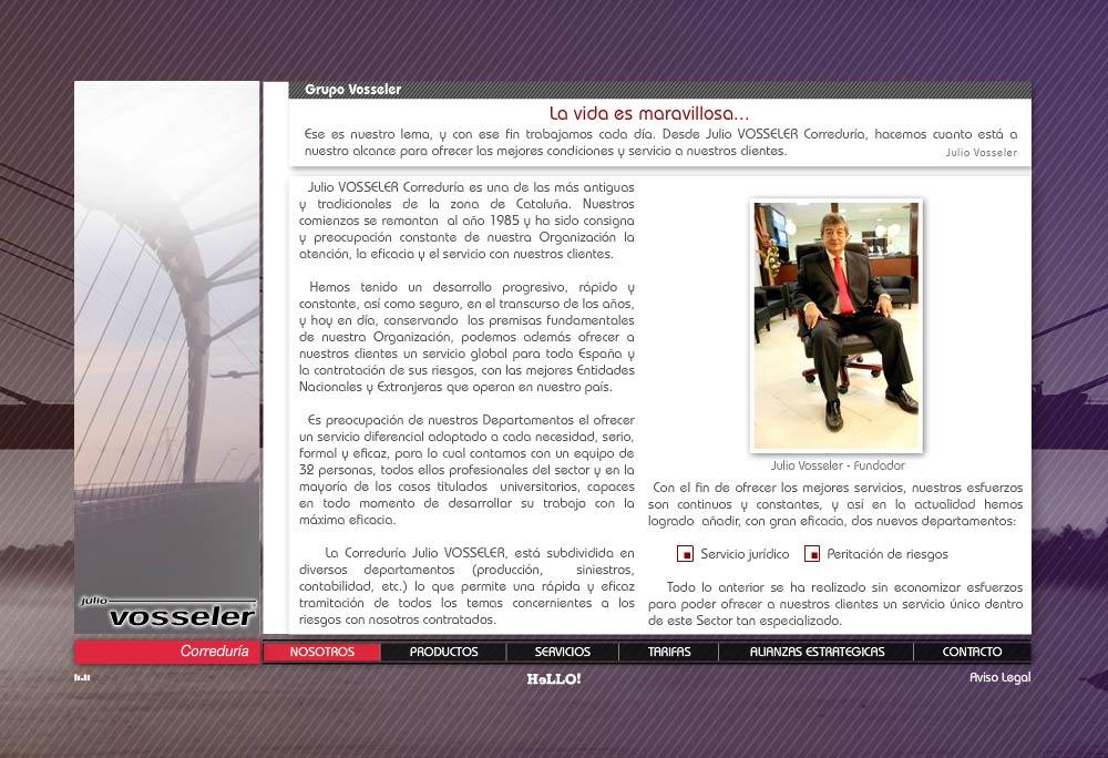 Desarrollo de la página web corporativa Correduría JULIO VOSSELER