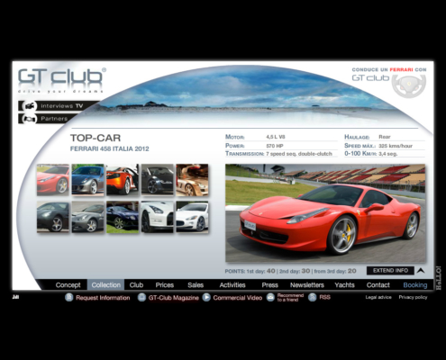 Development of the online application and e-commerce GT-CLUB