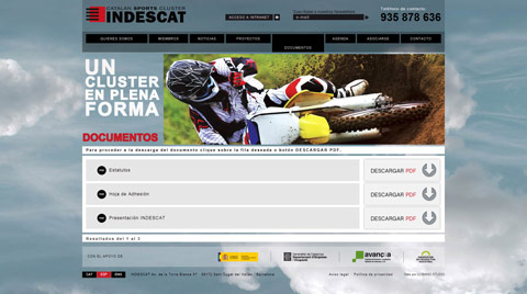 Desarrollo de la página web corporativa INDESCAT: CATALAN SPORTS CLUSTER
