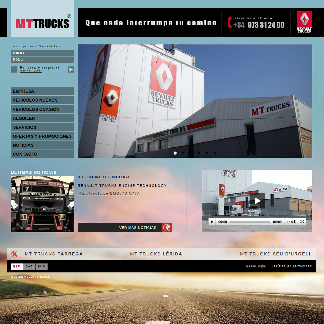 Desarrollo de la página web corporativa MT TRUCKS