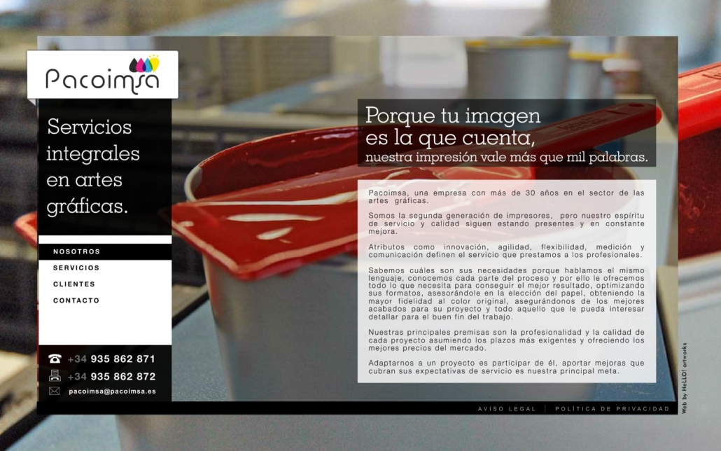 Desarrollo de la página web corporativa PACOIMSA