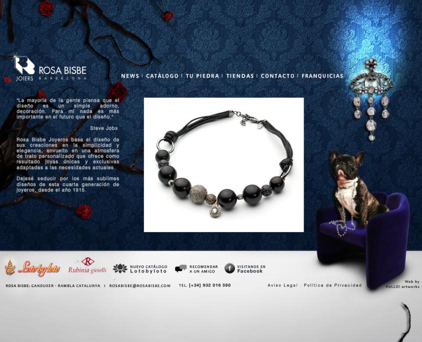 Desarrollo de la página web corporativa ROSA BISBE: JOIERS BARCELONA