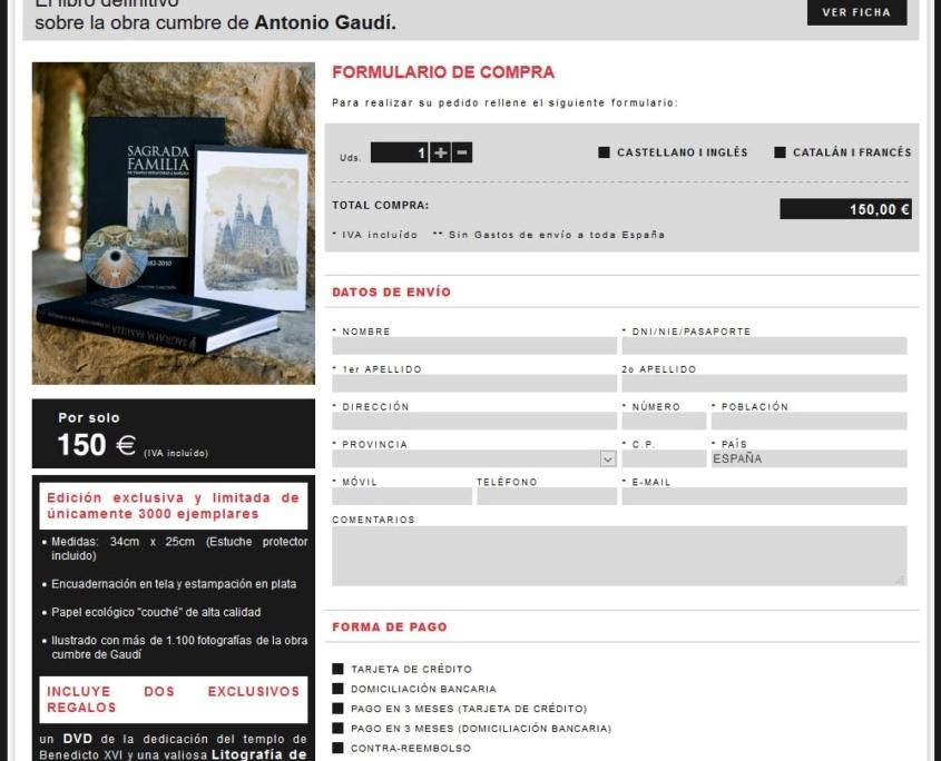 Desarrollo de la tienda online LIBRO DE LA SAGRADA FAMILIA