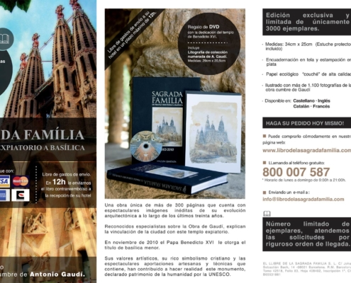 Graphic design of the advertising triptych LIBRO DE LA SAGRADA FAMILIA