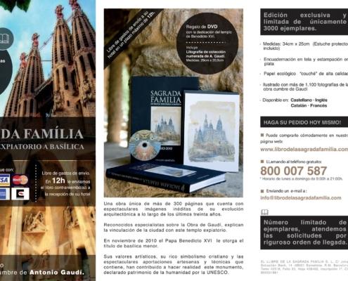 Diseño gráfico del tríptico publicitario LIBRO DE LA SAGRADA FAMILIA