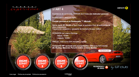 Desarrollo de la página web e-commerce CONDUCE UN FERRARI CON GT-CLUB