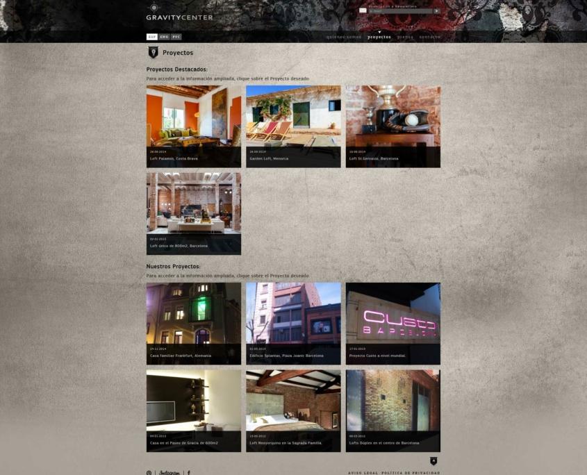 Desarrollo de la página web corporativa GRAVITY CENTER